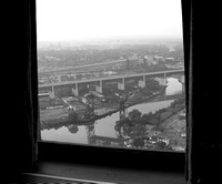 View of the Flats, the Lorain Carnegie Bridge and the innerbelt out a window of the Terminal Tower.© Carolyn S. Murray 2006
