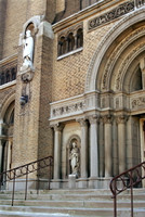 This is the stairway of St. John Cantius.  This massive Romanesque church features mass in English, Spanish and Polish -- and a bowling alley in the basement.© Carolyn S. Murray 2006
