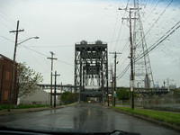 View heading toward downtown Cleveland, with the inner belt bridge in the background.  (May 2008)© Carolyn S. Murray 2008