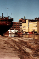 The Powerhouse is located right on the west bank of the Cuyahoga River.  (March 1985)© Carolyn S. Murray 1985