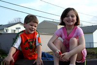 Liam and MacCaila's turn to sit on top of the playhouse!  (March 25, 2007)