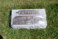 Here's the grave of Patrick McMahon (March 4, 1845 - November 18, 1902).  This is Larry's great grandfather and we have located his baptism record in parish of Magheracloone, County Monaghan, Ireland.