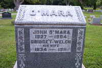 This is the grave of John O'MARA (June 1827 - 1904) and Bridget (WELCH) O'MARA (November 24, 1834 - April 26, 1911).  This grave can be found in St. Anthony's Cemetery, Milan, Erie County, Ohio.