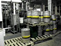 Each brewery has certain colors on it's kegs, so they end up back at the proper brewery once they're empty!  (February 2008)© Carolyn S. Murray 2008