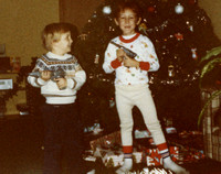 Our two handsome fellows on Christmas morning!  (December 1983)