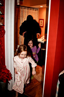 Grandfather Granddaughters Play Ghost